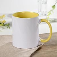 Кружка под сублимацию Доляна 'Акцент', 320 мл, 11,5x8x9,5 см, цвет жёлтый