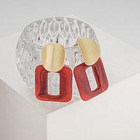 Серьги пластик 'Комильфо', цвет красный в золоте
