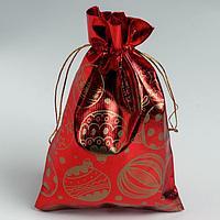 Мешочек подарочный парча 'Новогодние шары', 16 х 24 см (комплект из 10 шт.)