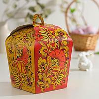Пасхальная коробочка 'ХВ', красная хохлома, 17 х 17 х 26 см (комплект из 5 шт.)