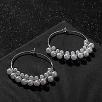 Серьги-кольца 'Карелия' диск с бусинами, цвет белый в серебре, d4