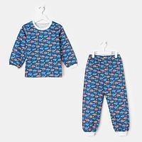 Пижама детская НАЧЁС, цвет синий/рис. лиса, рост 116-122 см