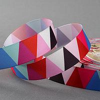 Лента репсовая 'Треугольники', 25 мм, 18 ± 1 м, разноцветная