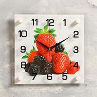 Часы настенные, серия Кухня, 'Клубника и ежевика', 25х25 см, микс