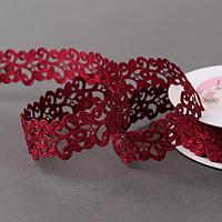 Лента фигурная 'Вьюнчик', 25 мм, 9 ± 0,5 м, цвет бордовый