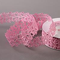 Лента фигурная 'Ромашки', 25 мм, 9 ± 0,5 м, цвет розовый
