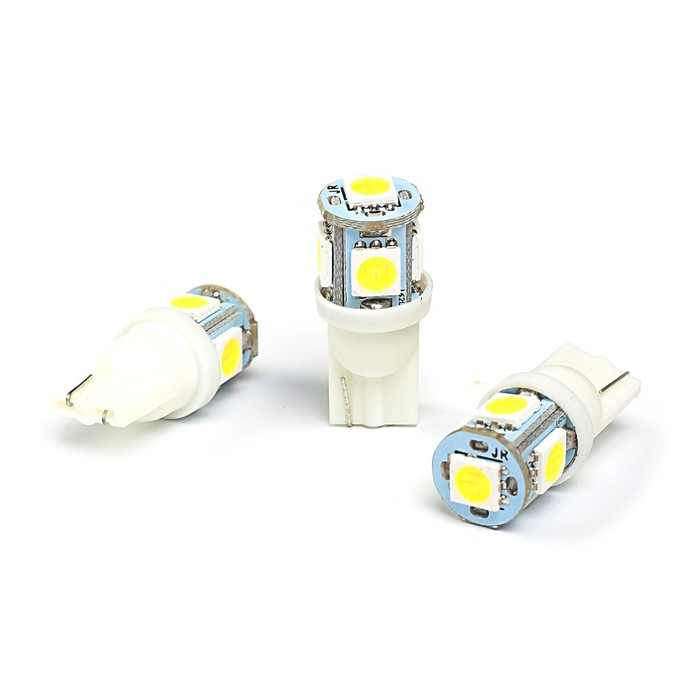 Лампа светодиодная KS, Т10, W2.1-9.5d, 12 В, белая, 5 SMD, б/цокольная (комплект из 10 шт.) - фото 1