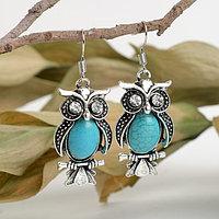 Серьги 'Бирюзовый мир' сова, цвет голубой в чернёном серебре