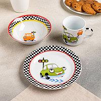 Набор детской посуды Доляна 'Светофор', 3 предмета кружка 230 мл, миска 400 мл, тарелка 18 см