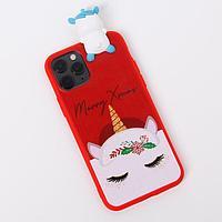 Чехол для телефона iPhone 11 pro 'Новогодний единорог', с персонажем, 7,14 х 14,4 см