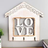 Крючки декоративные дерево 'Надпись в окне дома' МИКС 23,5х23х3 см