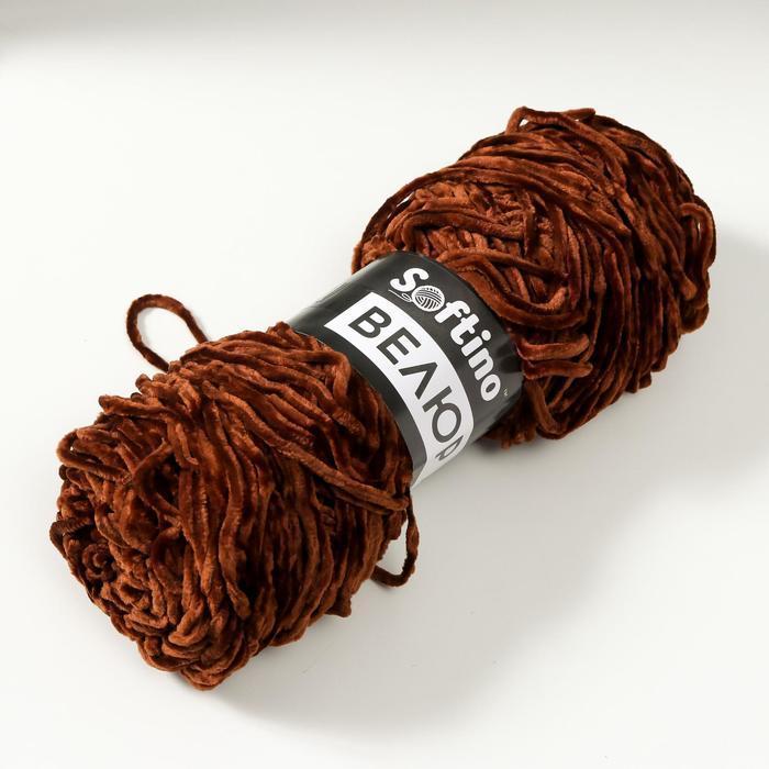 Пряжа фантазийная 100 микрофибра 'Велюр лайт' 100 гр 85 м орехово-коричневый (комплект из 5 шт.) - фото 2