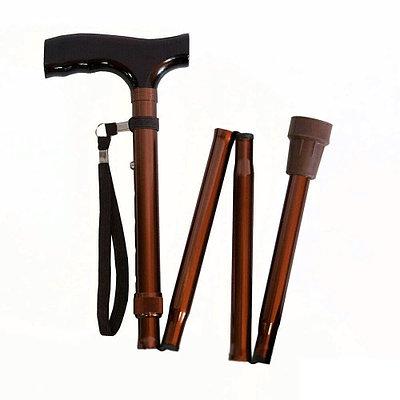 Трость телескопическая складная 4-х секционная с деревянной ручкой Мега-оптим