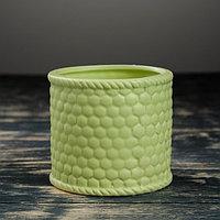 Кашпо керамическое 'Корзина зеленая' круглое 10*10*9 см