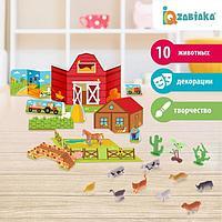 Набор животных с декорациями 'Фермерское хозяйство', 10 животных, по методике Монтессори