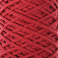 Шнур для вязания без сердечника 100 хлопок, ширина 3мм 100м/200гр (2172 бордовый) МИКС