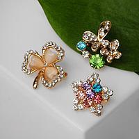 Брошь 'Ассорти' бабочки, цветочки, форма МИКС, цветная в золоте (комплект из 12 шт.)