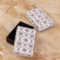 Коробочка подарочная под кулон/серьги/кольцо 'Узоры графские' 8*5 (размер полезной части см), черно-белый,
