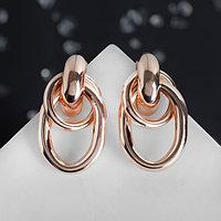 Серьги металл 'Геометрия' овалы на кольце, цвет розовое золото