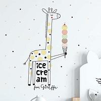 Наклейка пластик интерьерная цветная 'Жирафик в горох, с мороженым' 40х60 см