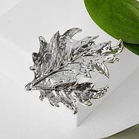 Брошь крупная 'Лист', цвет серебро