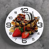 Часы настенные, серия Кухня, 'Венские вафли и клубника', 24 см