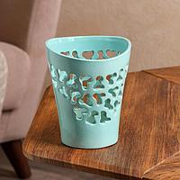 Кашпо 'Орхидейница', резная, голубая, керамика