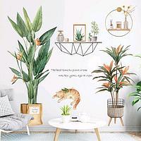 Наклейка пластик интерьерная цветная 'Домашние растения и спящий кот' 30х90 см набор 2 листа 54949