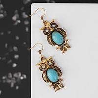 Серьги 'Бирюзовый мир' сова, цвет голубой в чернёном золоте