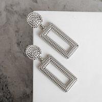 Серьги металл 'Барбадос' прямоугольник, цвет серебро
