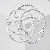 Брошь 'Кольца' фактура, цвет серебро