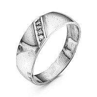 Кольцо 'Обручальное' дорожка, посеребрение с оксидированием, 17,5 размер