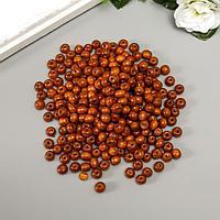 Бусины деревянные 'Астра' круглые, 8 мм, 50 гр, коричневый