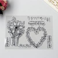 Штамп для творчества силикон 'Цветочное сердце и цветы' 15,5х21,5 см
