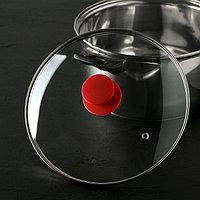Крышка для сковороды и кастрюли стеклянная , d24 см, ручка силиконовая МИКС
