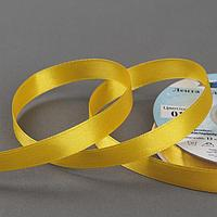 Лента атласная, двусторонняя, 12 мм x 33 ± 2 м, цвет тёмно-жёлтый 017
