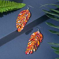Серьги пластик 'Папоротник' монстера, цвет красно-оранжевый в серебре