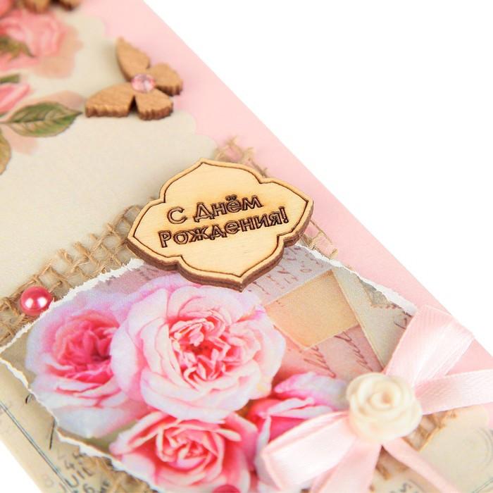 Конверт для денег 'С Днём Рождения!' ручная работа, розовые розы - фото 3