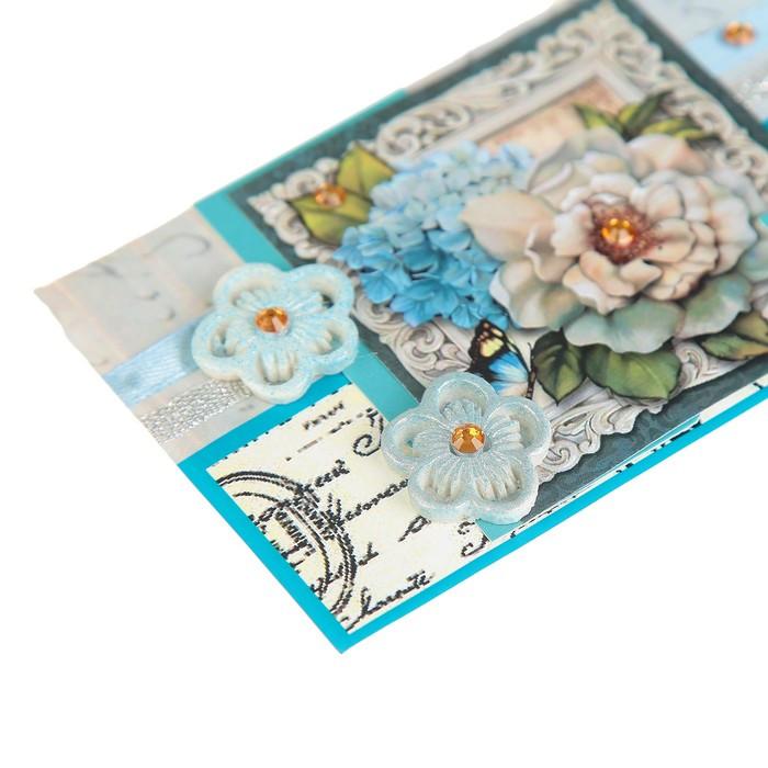 Конверт для денег 'С Юбилеем!' ручная работа, цветы, стразы - фото 3