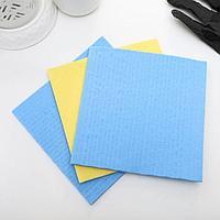 Набор губчатых салфеток для кухни 15x15 см, 3 шт, цвет МИКС