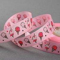 Лента репсовая 'Мороженое', 25 мм, 22 ± 1 м, цвет розовый 3031