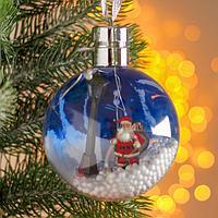 Новогодний шар с деревянной фигуркой и подсветкой 'Дед Мороз' 10х10 см