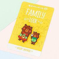 Набор значков для мамы и ребенка 'Медведи' 8 х 12 см