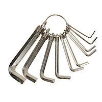 Набор ключей имбусовых Sparta, 1.510 мм, 10 шт, никелированный, на кольце