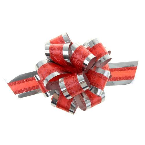 Бант-шар 3,2 'Розы в серебре', цвет красный