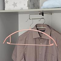 Вешалка-плечики для одежды Доляна 'Мята', размер 42-44, антискользящее покрытие, цвет МИКС (комплект из 3 шт.)