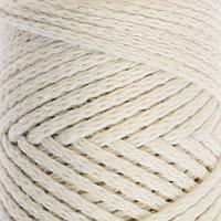 Шнур для вязания без сердечника 100 хлопок, ширина 2мм 100м/95гр (2264 ванильный)