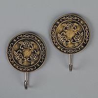 Набор крючков на липучке Доляна 'Антиквариат. Круг', 2 шт, цвет МИКС