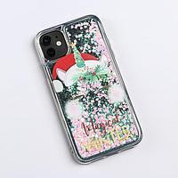 Чехол - шейкер для телефона iPhone 11 'Новогодний единорог', 7,6 х 15,1 см