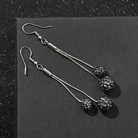 Серьги висячие со стразами 'Шамбала', цвет серый в серебре